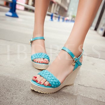 Wedge Heel Plain Platform Open Toe Women's Sandals