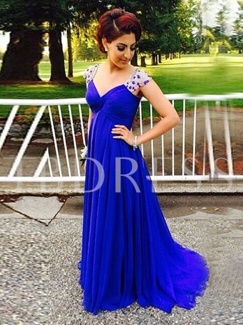 A-Line Crystal V-Neck Beading Pleats Sweep Train Evening Dress