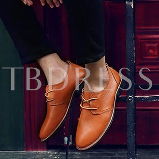 Square Heel Pointed Toe Cross Strap Low-Cut Upper Men's Oxfords