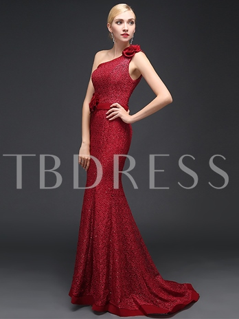 One-Shoulder Mermaid Lace Flowers Evening Dress