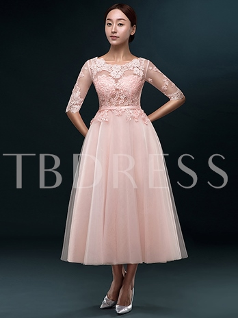 Half Sleeves A-Line Round Neck Lace Tea-Length Prom Dress