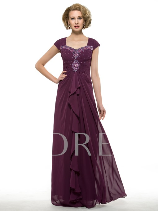 Ruched Chiffon Beading Sheath Long Mother of the Bride Dress