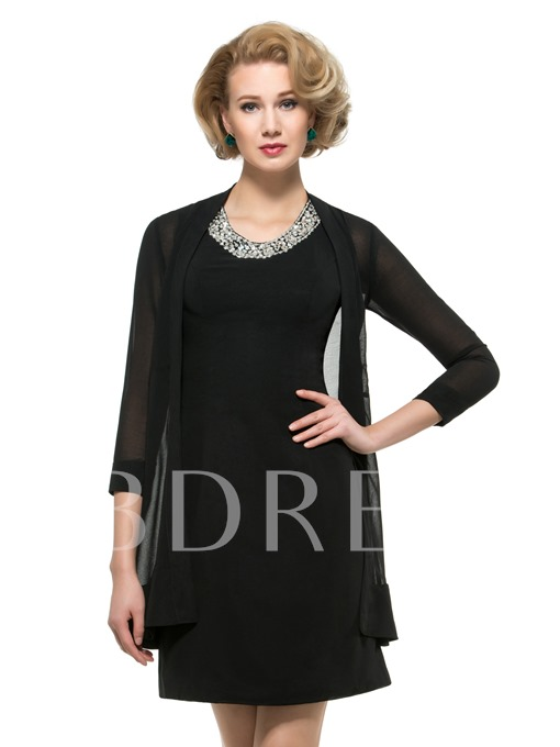 Beading Chiffon Short/Mini Mother of the Bride Dress with Jacket