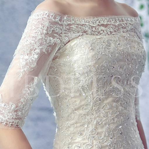 Off the Shoulder Appliques Sequins Mermaid Wedding Dress