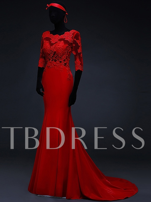 Round Neck Mermaid Half Sleeves Lace Appliques Evening Dress