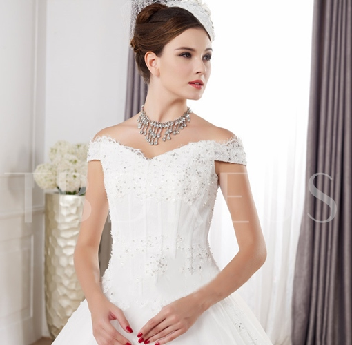 Off-The-Shoulder Lace-Up Ball Gown Plus Size Wedding Dress