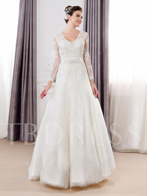 Long Sleeve Tulle Lace Bowknot Ribbon A-Line Wedding Dress