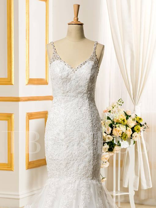 Trumpet/Mermaid Spaghetti Straps Beading Lace Backless Wedding Dress