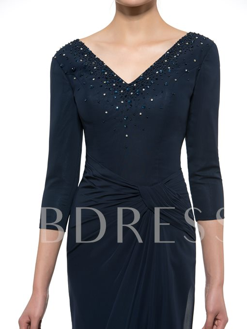 3/4 Length Sleeve Beaded Chiffon Mother of the Bride / Groom Dress