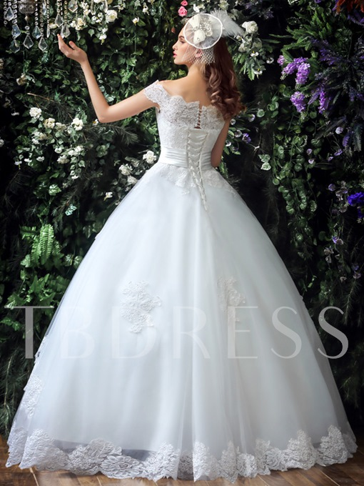 Lace-Up Tulle Off-The-Shoulder Lace Ball Gown Wedding Dress