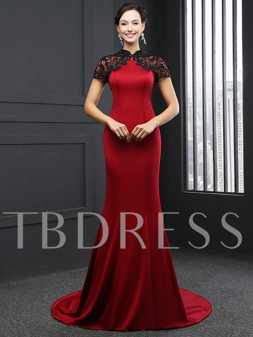 Mermaid High Neck Short Sleeves Beading Lace Court Train Evening Dress