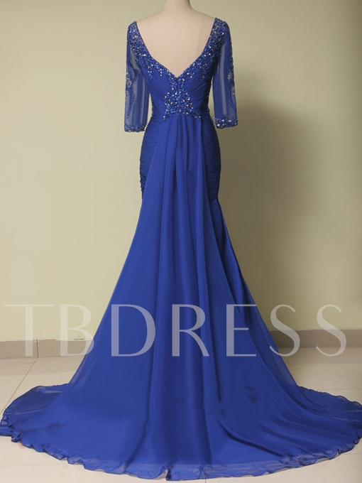 Scoop Sheath Ruched Beading Evening Dress