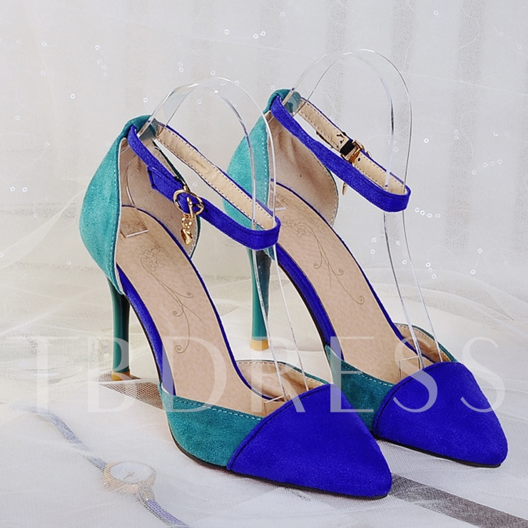 Color Block Pointed Toe Stiletto Heel Buckle Women's Pumps