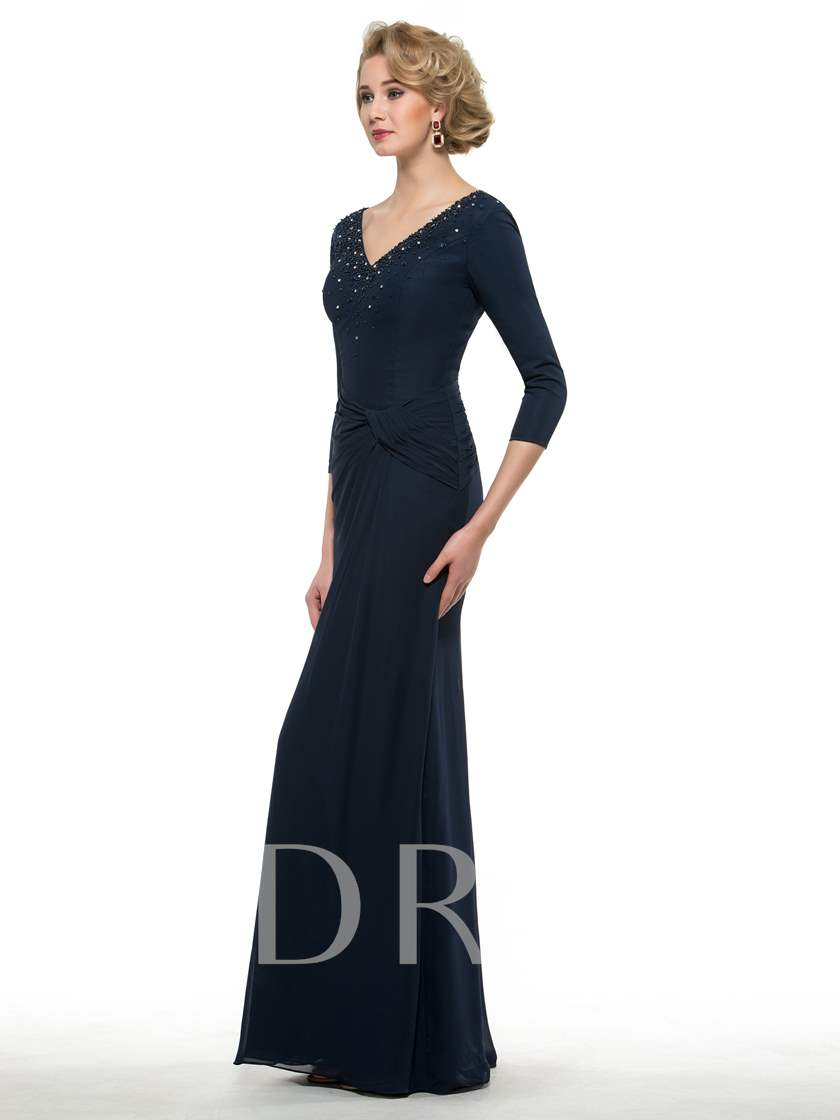 3/4 Length Sleeve Beaded Mother of the Bride Dress