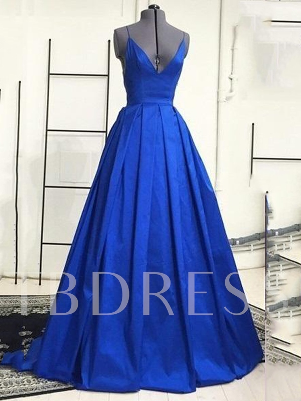 A-Line Spaghetti Straps Ruched Evening Dress