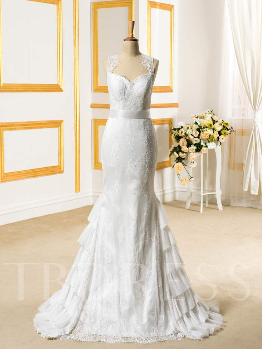 Tiered Chiffon Sheer Back Lace Trumpet/Mermaid Wedding Dress