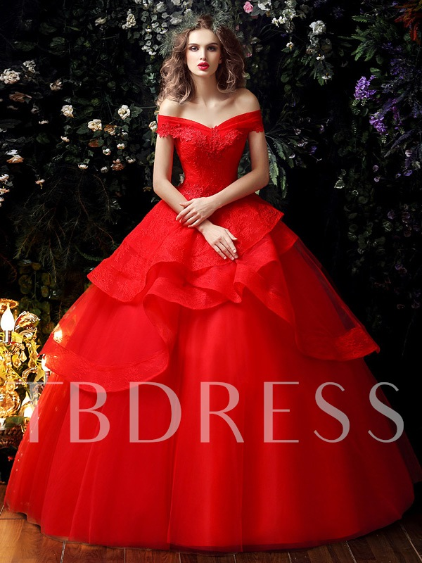 Off the Shoulder Appliques Tiered Ball Gown Red Wedding Dress
