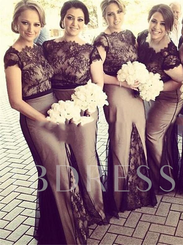 Cap Sleeves Lace Black Bridesmaid Dress