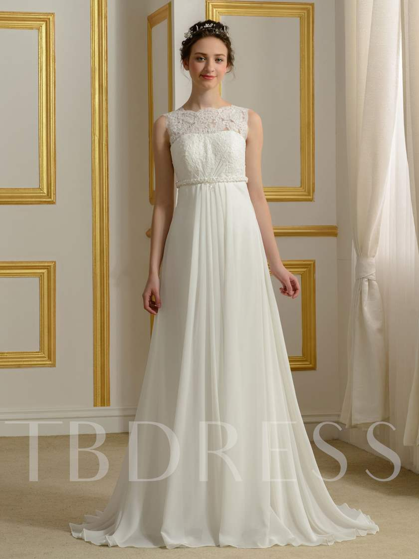 Lace A-Line Empire Waist Chiffon Wedding Dress - Tbdress.com