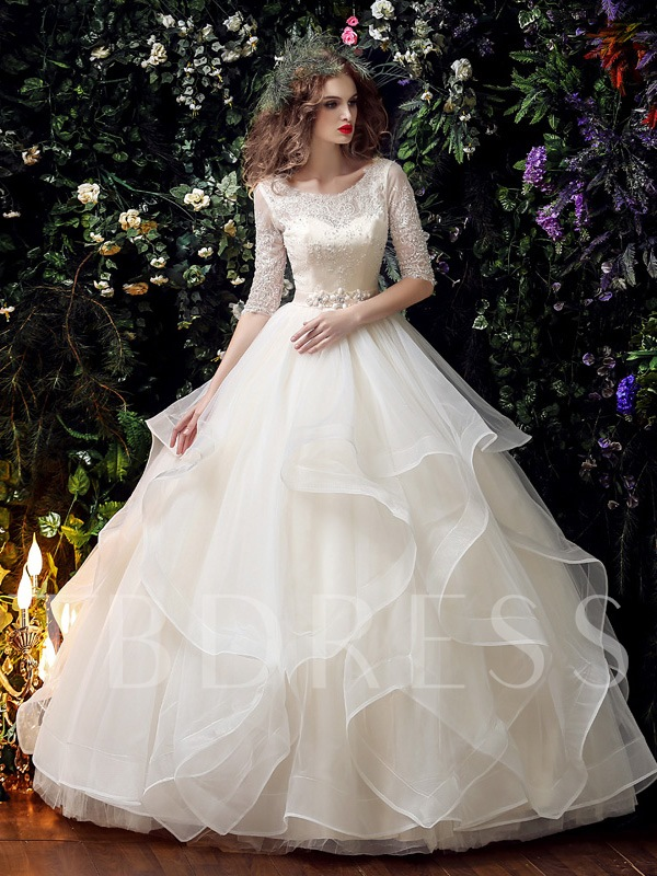 Half Sleeve Lace Beading Ball Gown Half Sleeve Wedding Dress
