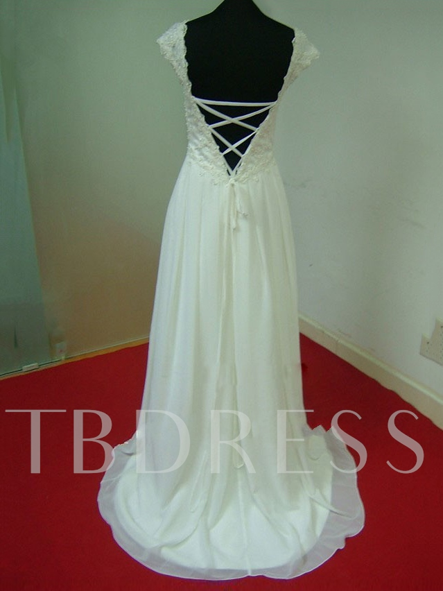 Empire Waist Pearls Lace Maternity Wedding Dress
