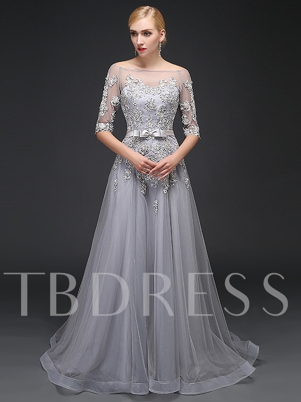 Sashes A-Line Bowknot Off-the-Shoulder Appliques Beading Evening Dress