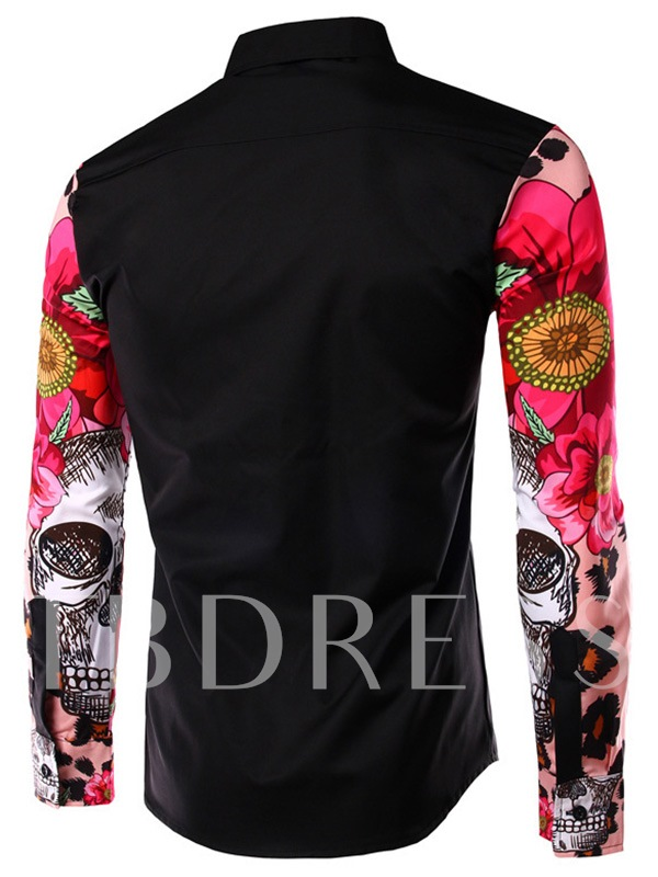 Patchwork Lapel Slim Men's Button Shirt with Floral Printed Sleeve