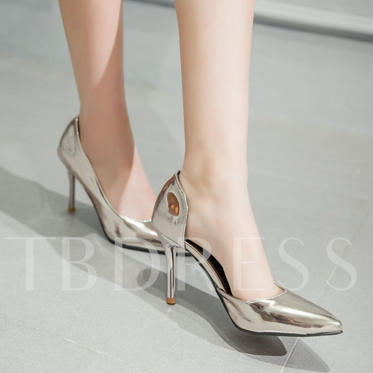 Plain Slip-On Stiletto Heel Pointed Toe Women's Pumps