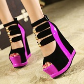 Peep Toe Buckle Color Block Platform Sequins Women's Sandals