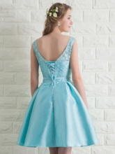 A-Line Bateau Bowknot Lace Short Prom Dress