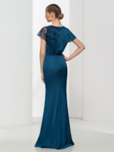 Mermaid Button Round Neck Lace Sashes Floor Length Evening Dress