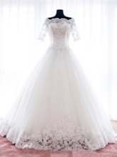 Short Sleeves Appliques Court Train Floor-Length Wedding Dress