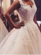 Low Back Pearls Appliques Ball Gown Wedding Dress