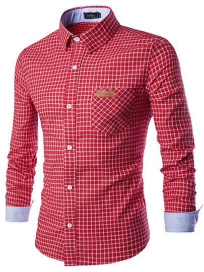 Men's Shirt with Mini Plaid Printed