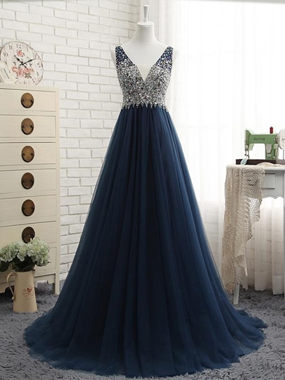 A-Line Beaded V-Neck Rhinestone Prom Dress