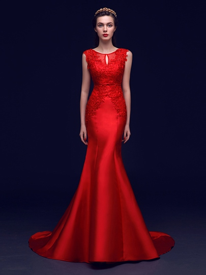 Trumpet Scoop Neck Appliques Beading Sashes Court Train Evening Dress