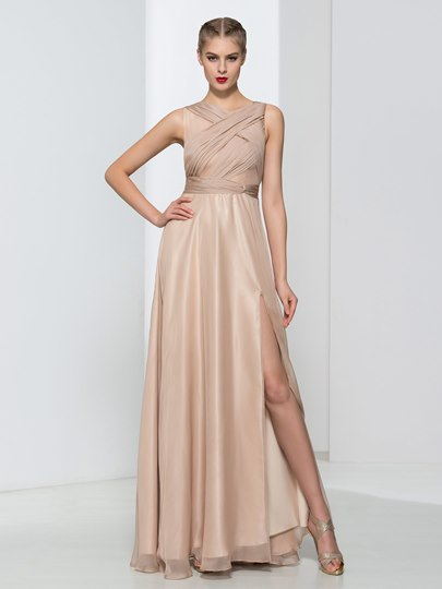 Straps A-Line Pleats Hollow Evening Dress