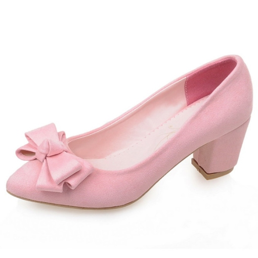 Bowtie Slip-On Chunky Heel Pointed Toe Women's Pumps
