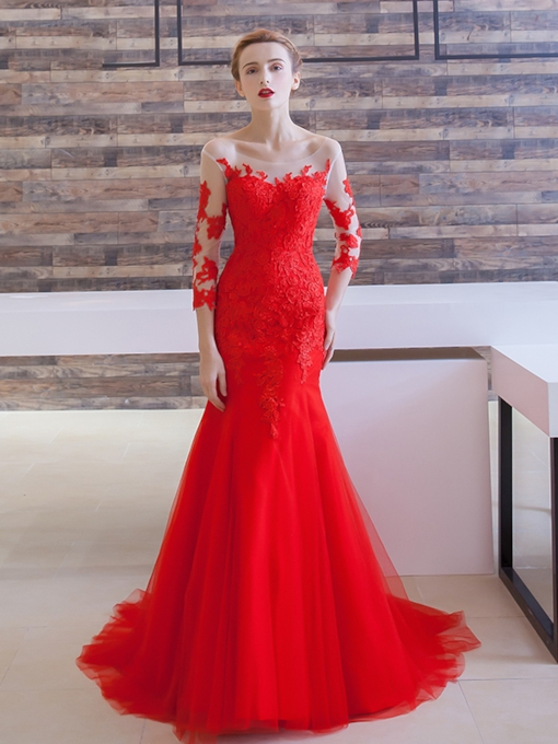 Mermaid 3/4 Length Sleeves Bateau Neck Appliques Court Train Evening Dress