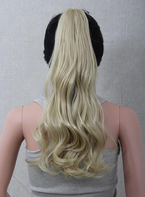 Light Golden Long Wavy Synthetic Hair Ponytail