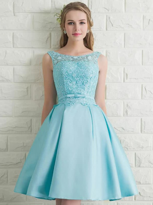 A-Line Bateau Sleeveless Bowknot Lace Short Prom Dress