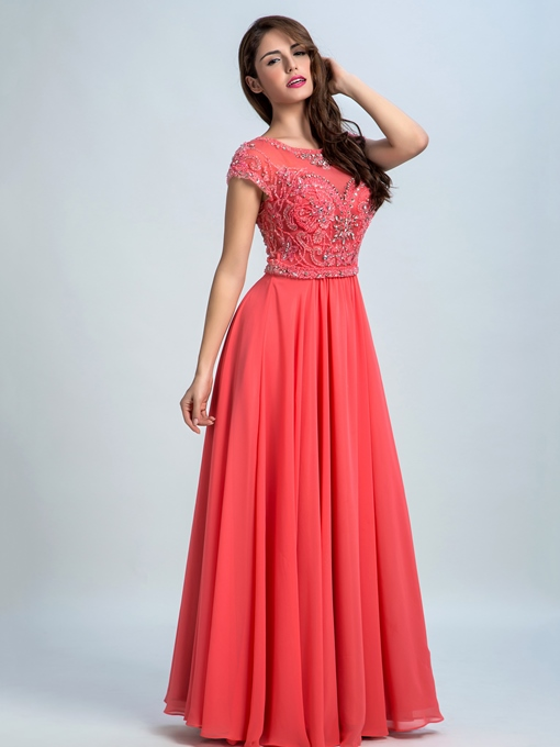 Cap Sleeves A-Line Scoop Neck Beading Prom Dress
