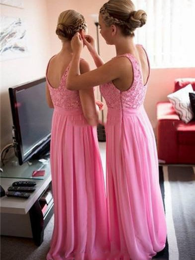 Lace Chiffon A-Line Long Bridesmaid Dress
