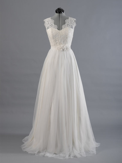 V-Neck Sashes Appliques Beach Wedding Dress