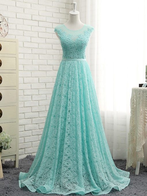 Sheer Neck Beading Lace Prom Dress