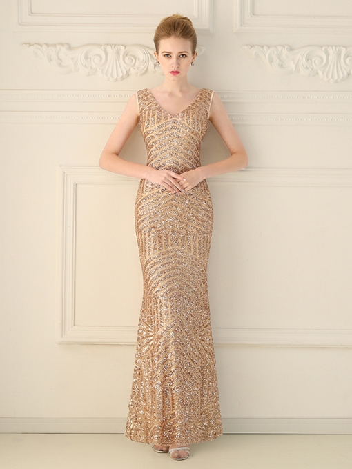 Mermaid Sequins V-Neck Floor-Length Evening Dress