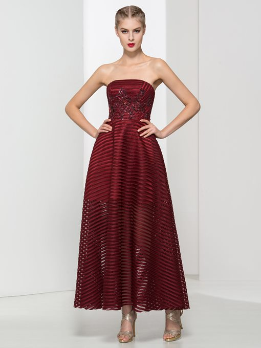 Strapless A-Line Appliques Sequins Ankle Length Prom Dress