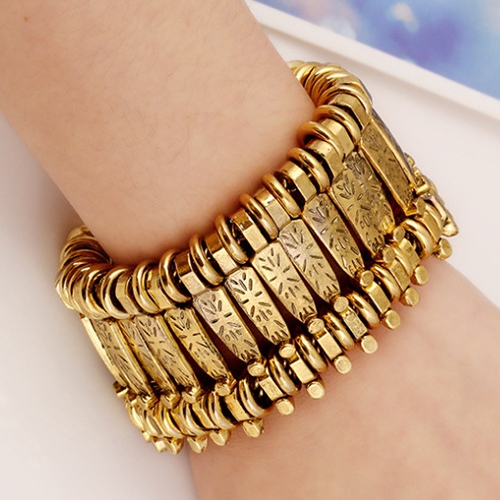 Fashion Punk Metal Texture Pure Color Women's Bracelet