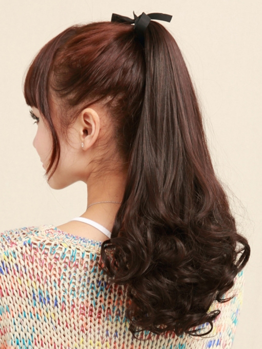 Long Loose Wave Smooth Synthetic Ponytail For Women