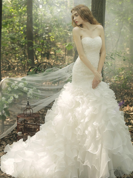 Strapless Organza Flowers Beading Ruffles Mermaid Wedding Dress